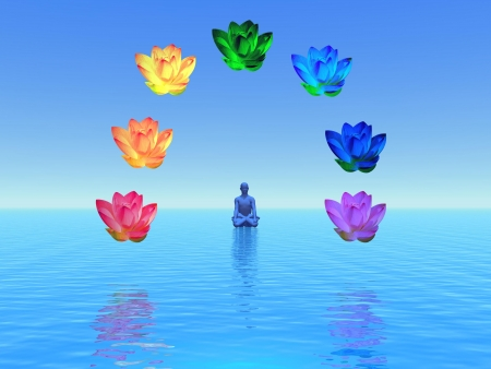 Man in meditation surrounded with colorful lotus as chakras, on the ocean and in blue background