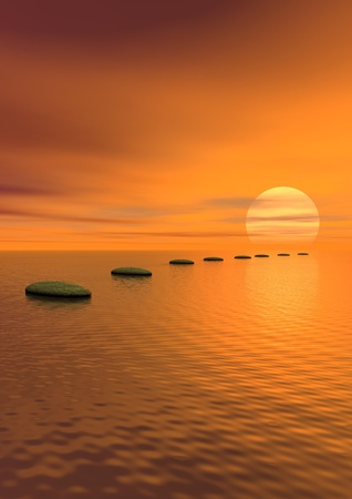 Grey stones steps upon the ocean going to the sun by cloudy sunset Stock Photo - 14637440