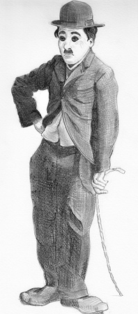 Portrait of Charlot standing with a cane Editorial