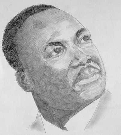 juniors: Drawing of Martin Luther King with grey pencils