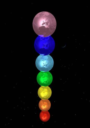 Earth for each color chakra in stary night background photo