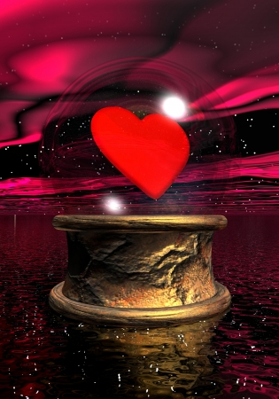 fortune: Crystal ball with a red heart inside upon golden base in night background Stock Photo
