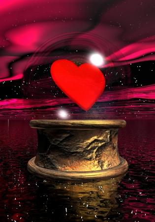 psychisch: Kristallen bol met een rood hart binnen op gouden basis in nacht achtergrond Stockfoto