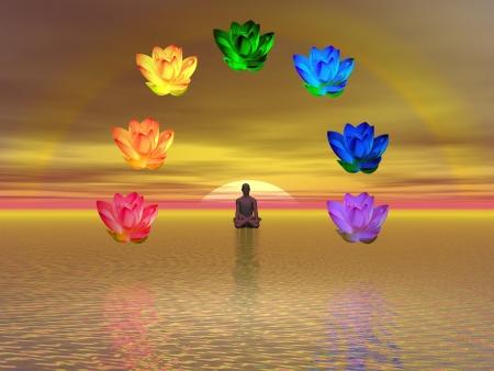 kundalini: L'uomo in meditazione circondato da colorati di loto come chakra, sul mare al tramonto