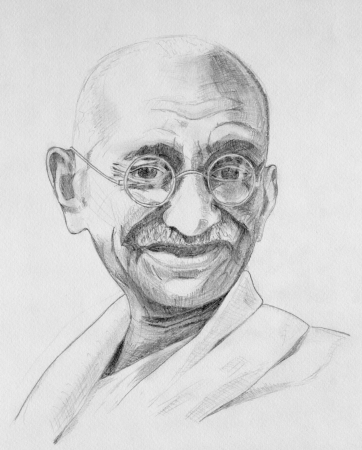 Drawing of Mahatma Gandhi with grey pencils