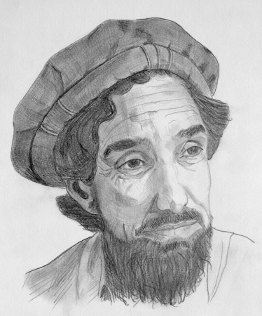 humanist: Drawing of Ahmed Shah Massoud commandant with grey pencils