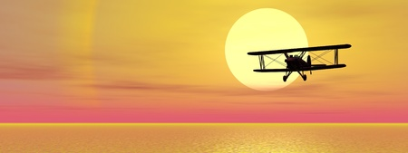biplane: Old biplan flying upon ocean by sunset