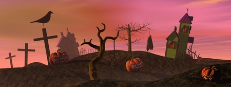 horror background: Halloween pumpkins and houses, trees, crosses, crow and dead man by colorful sunset