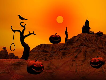 Halloween pumpkins and houses, trees, crosses, crow and dead man by red sunset photo