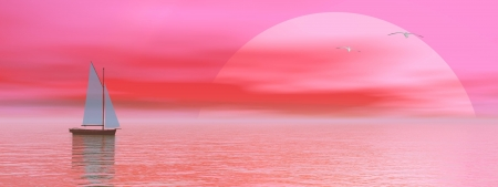 seabird: Small sailboat on the ocean next to seagulls flying by pink sunset