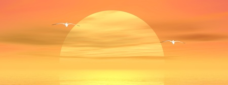 Big yellow sun shining while sunset over the ocean with two seagulls fliying Stock Photo - 15062052
