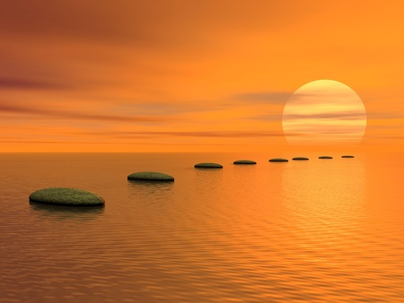 red pebble: Grey stones steps upon the ocean going to the sun by cloudy sunset Stock Photo