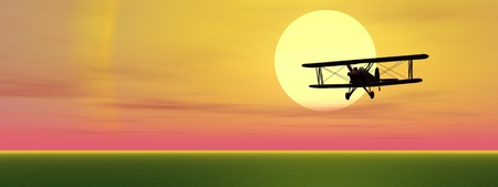 brothers: Old biplan flyinig upon grassland by sunset