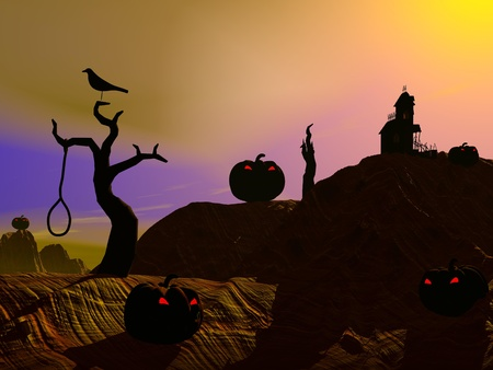 Halloween pumpkins and houses, trees, crosses, crow and dead man by sunset photo
