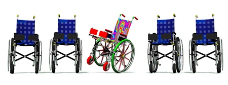 sanatorium: Funny and happy colorful wheelchair among static blue others Stock Photo