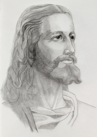 Grey pencils drawing of Jesus photo