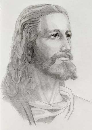 jesus illustration: Grey pencils drawing of Jesus Stock Photo