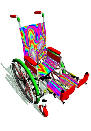 Funny colorful wheelchair in white background Stock Photo - 15483772