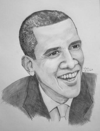 Grey pencils portrait of Barack Obama