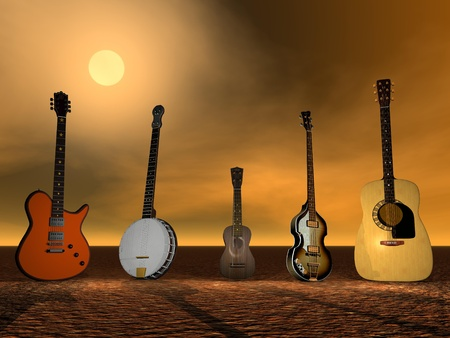 Guitars, banjo and ukulele ny sunset Stock Photo - 15793083