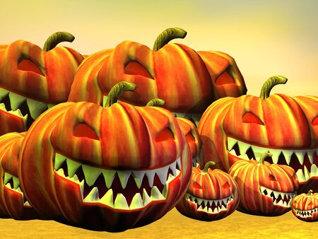 Many halloween pumpkins in yellow background photo