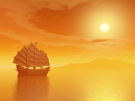 cantonese: Oriental junk alone in the sea far from an island by sunset