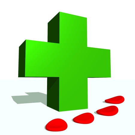Big green cross and blood cells in white background Stock Photo - 15893127