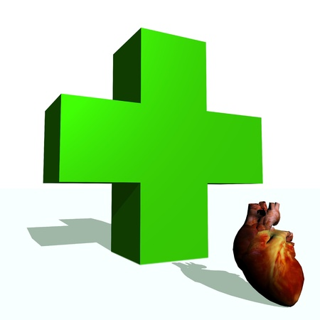 Big green cross and heart in white background Stock Photo - 15893130