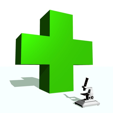 Big green cross and microscope in white background Stock Photo - 15893128