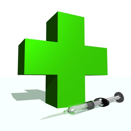 Big green cross and syringe in white background photo