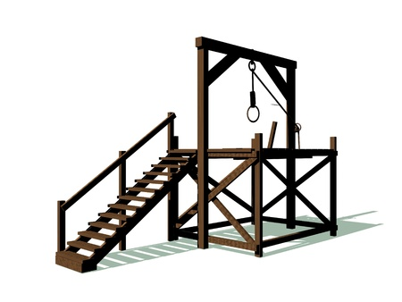 capital punishment: Gallow made of wood with a rope in white background