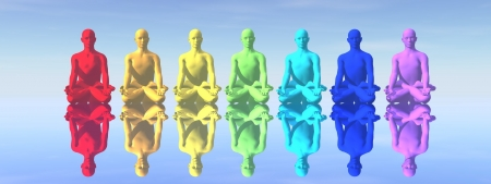 energy healing: Seven human with chakra colors in meditation with their reflection in blue background Stock Photo