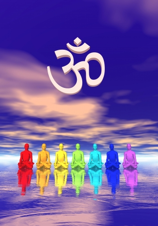 3d om: Seven human with chakra colors meditating below an aum in blue and pink background