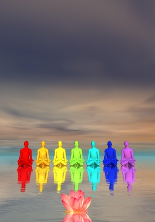 Seven human with chakra colors meditating in front of a waterlily flower in cloudy background photo