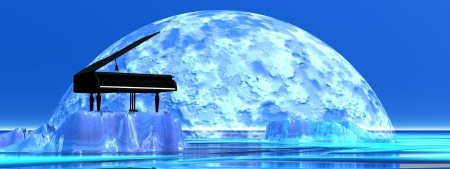 acoustically: Piano standing on a iceberg in front of the moonlight