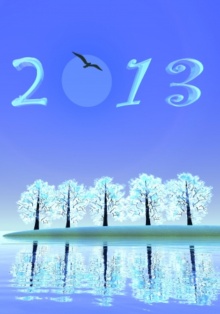 2013 numbers upon winter landscape of trees and water by night with full moon Stock Photo - 16032749