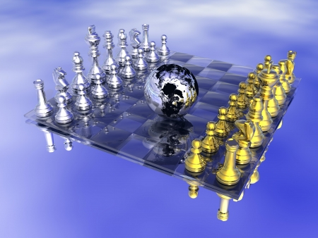 Earth planet in the middle of a chess board, game not strarted yet, in blue background Stock Photo