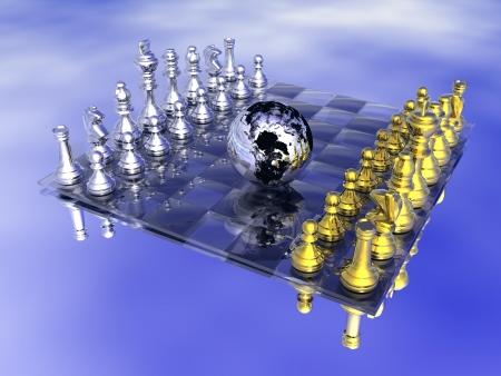 tablero de ajedrez: Planeta Tierra en el centro de un tablero de ajedrez, no juego strarted sin embargo, en el fondo azul