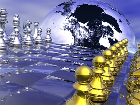 chess move: Earth planet behind a chess board, game not strarted yet, in blue background