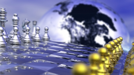 Earth planet behind a chess board, game not strarted yet, in blue background photo