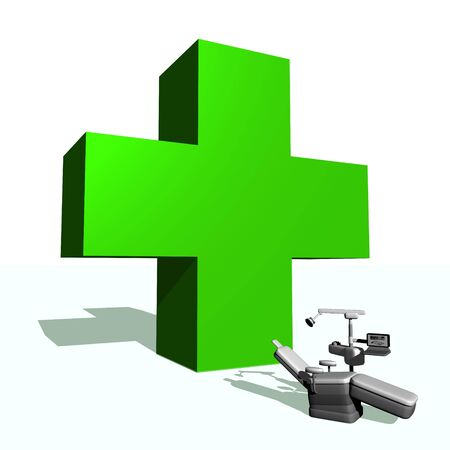 Big green cross and dental chair in white background photo