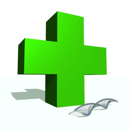 Big green cross and DNA chain in white background Stock Photo - 16032633