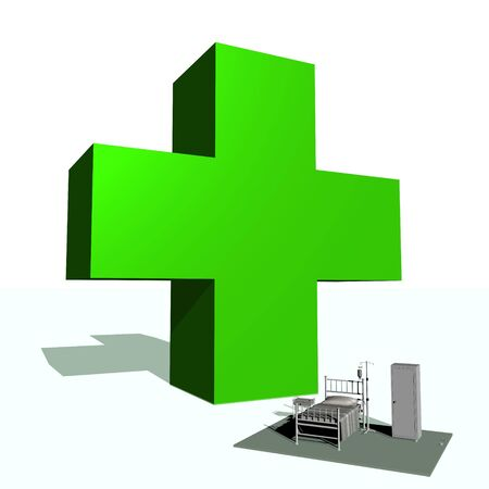 Big green cross and hospital room in white background photo