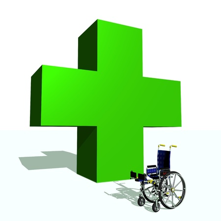 wheel chair: Big green cross and wheel chair in white background