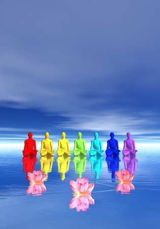 3d om: Seven human with chakra colors meditating in front of waterlilies flower in blue background