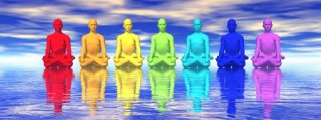 tantra: Seven human with chakra colors meditating in blue background Stock Photo
