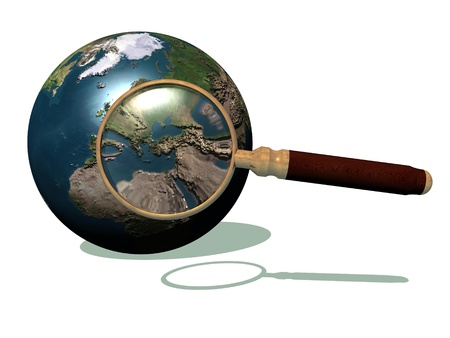 zooming: Magnifier against the earth and zooming on mediterranean sea area in white background Stock Photo