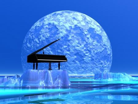 piano: Piano de pie en un iceberg frente a la luz de la luna
