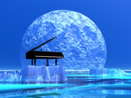 Piano standing on a iceberg in front of the moonlight