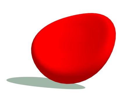 red blood cell: One blood cell with its shadow in white background